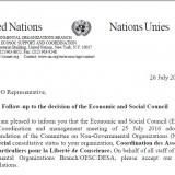 CAP Freedom of conscience granted special consultative status United Nation