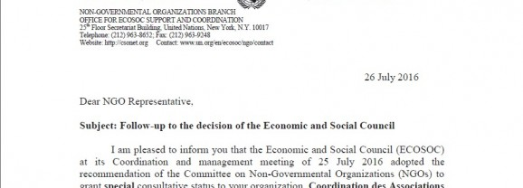 CAP Freedom of conscience granted special consultative status United Nation