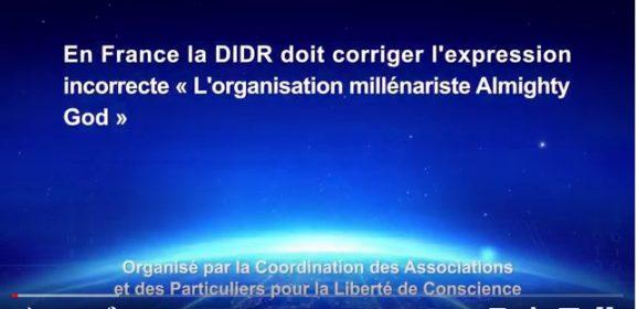En France la DIDR doit corriger l'expression incorrecte « L'organisation millénariste Almighty God »