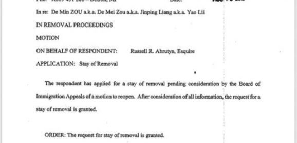 The Motion for Stay of Removal to China of Sister Zou Demei Has Been Granted
